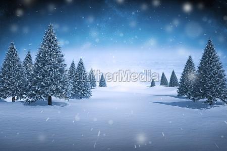 composite image of snowy landscape