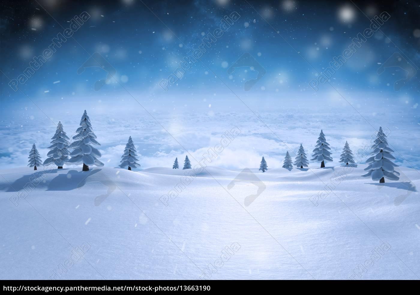 composite-bild, von, schneebedeckten, landschaft - 13663190