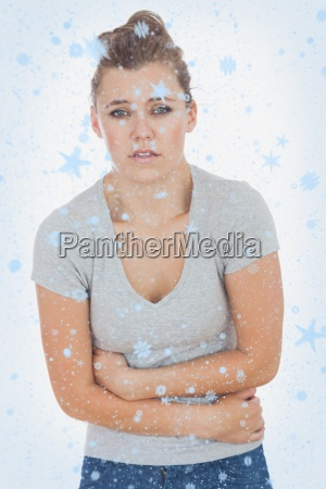 composite image of young woman suffering