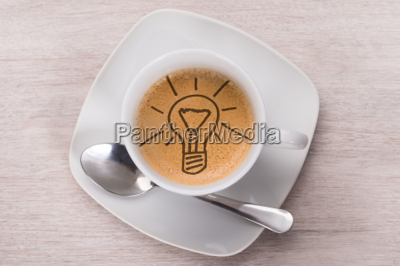coffee with light bulb