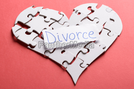 divorce label on heart made of