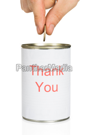 person putting coin in thank you