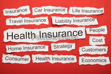 health insurance text on piece of