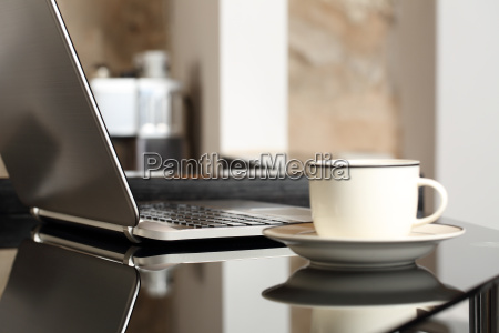laptop on a table workplace with