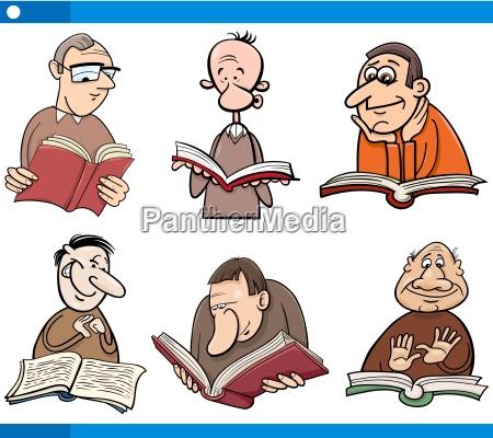 readers characters set cartoon