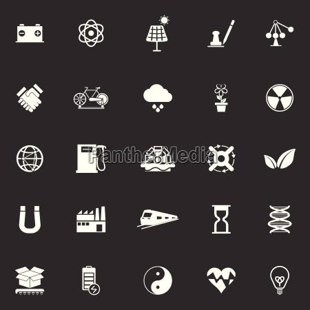 renewable energy icons on gray background