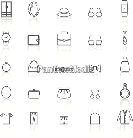 dressing line icons with reflect on