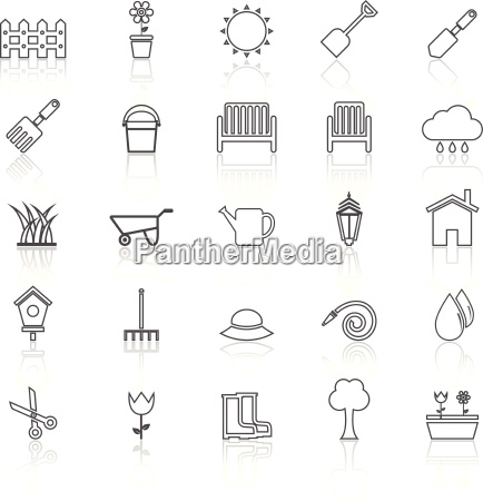 gardening line icons with reflcet on