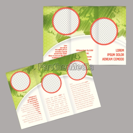 tri fold brochure design with world