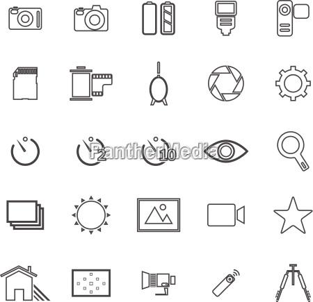 camera line icons on white background