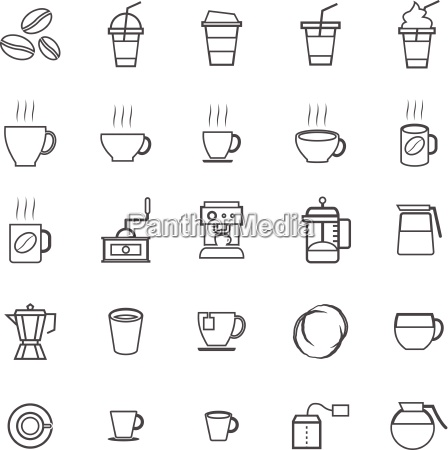 coffee line icons on white background
