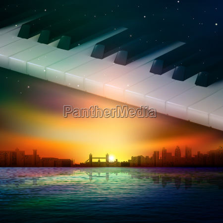 abstract night background with city and
