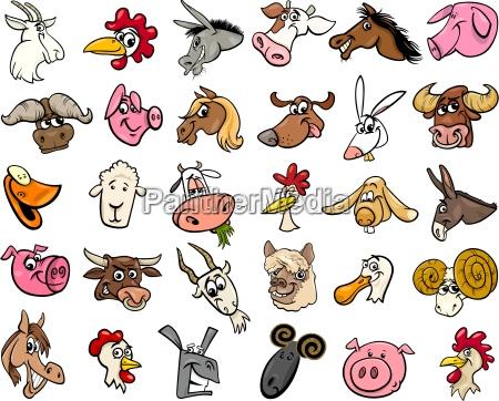farm animals cartoon heads big set