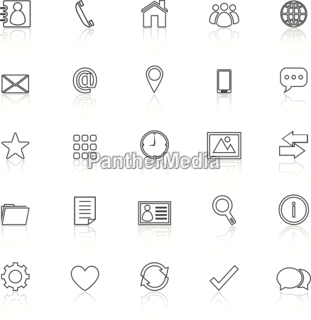 contact line icons with reflect on