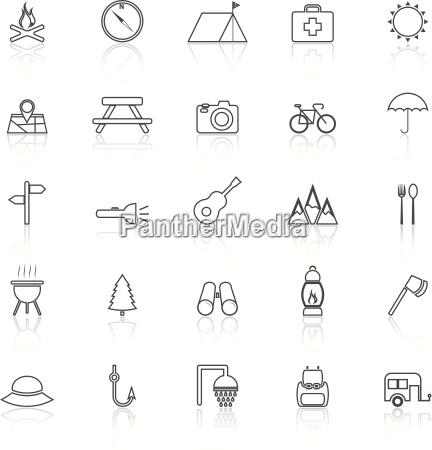 camping linie icons mit reflektieren auf