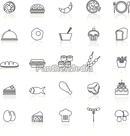 food line icons with reflect on