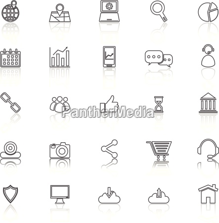 seo line icons with reflect on