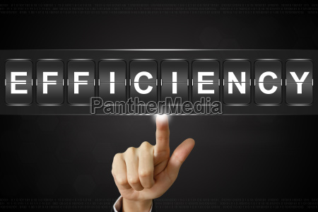 business hand clicking efficiency on flipboard