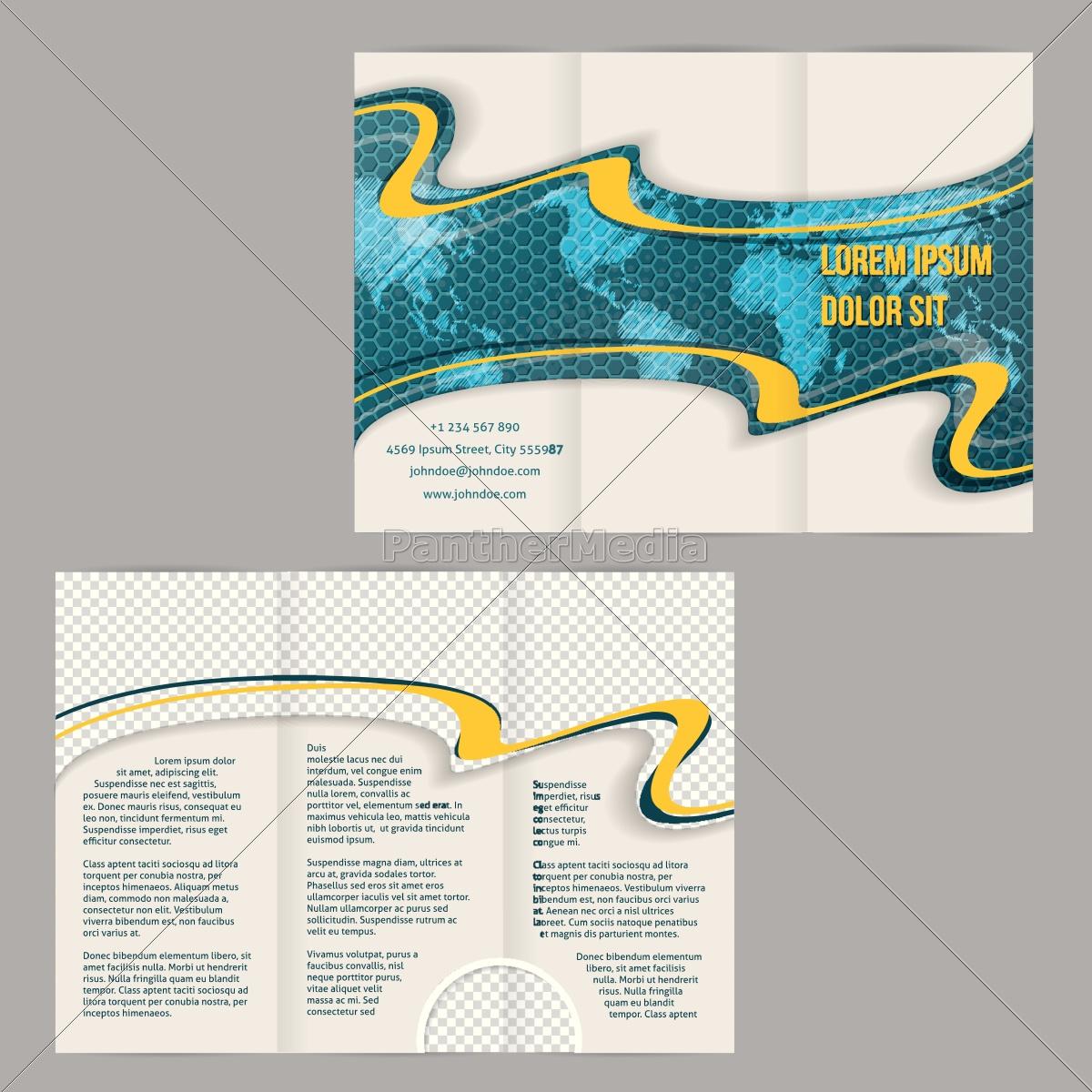 tri-fach, broschüre, vorlage, mit, gekritzelten, weltkarte - 14449117