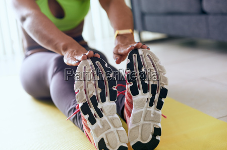 home fitness black woman doing training