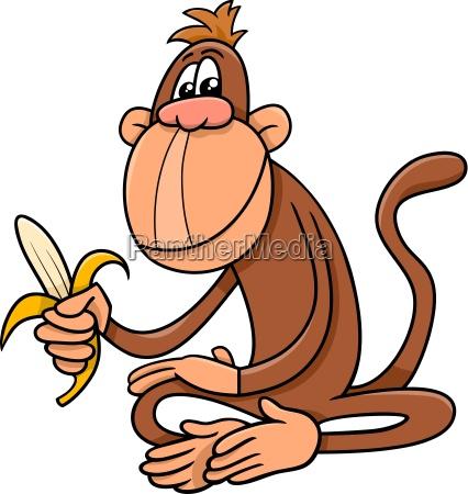 monkey with banana cartoon