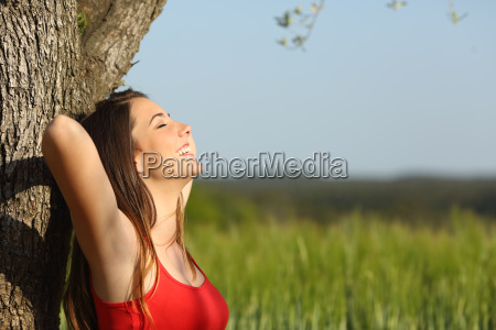 woman resting and relaxed in a