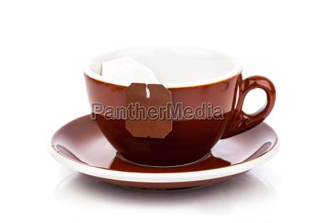 tasse tee mit teebeutel leeres etikett