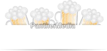 beer glass vector illustration watercolors banner