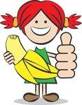 kind mit banane und daumen hoch