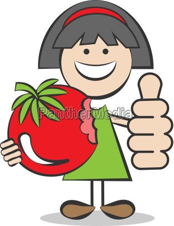 kind mit tomate und daumen hoch