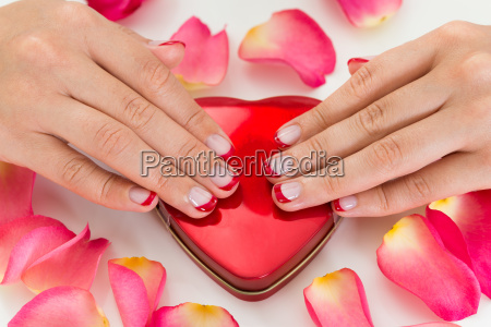 woman hands with nail varnish on