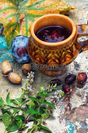 autumn still life with tea