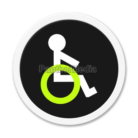 button rund rollstuhl symbol