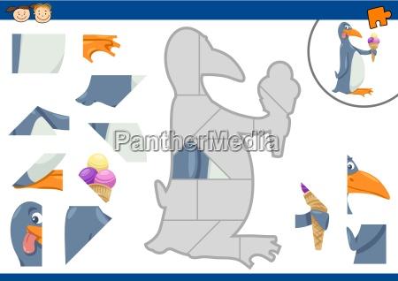 cartoon penguin jigsaw puzzle task