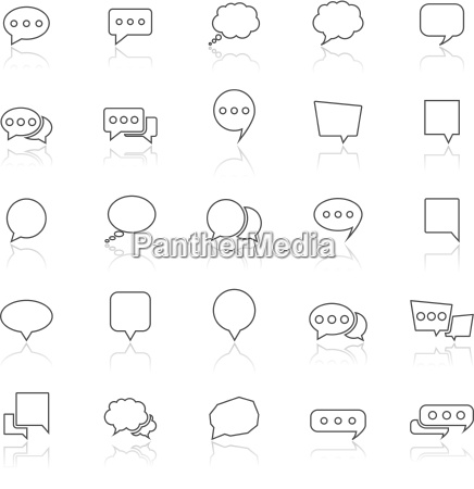 speech bubble line icons with reflect