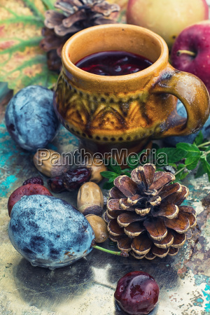 still life with tea and fruit