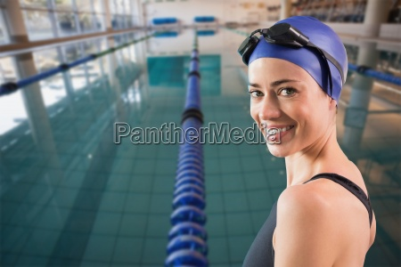 composite image of fit swimmer standing