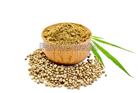 flour hemp in bowl with leaf