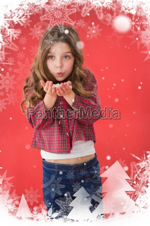 composite image of festive little girl