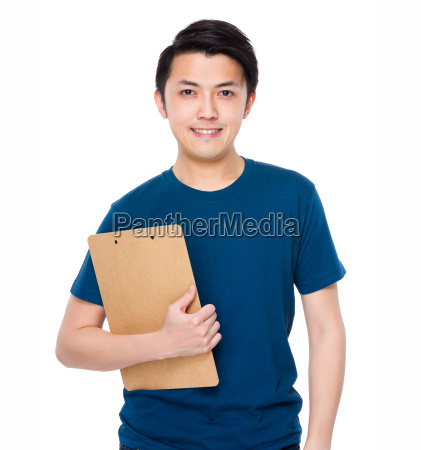 young man hold with clipboard