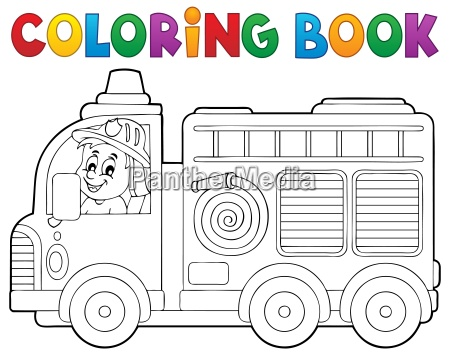 coloring book fire truck theme 2