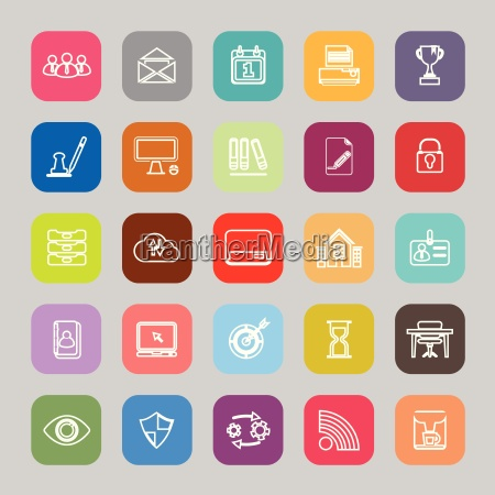 business management line flat icons