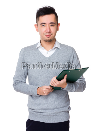 businessman hold with clipboard