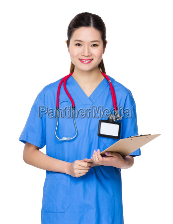 female doctor hold with report file