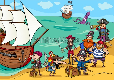 pirates with ship cartoon