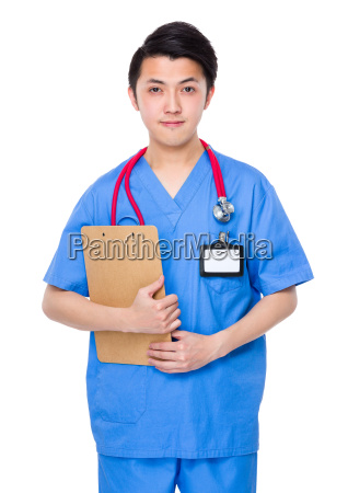 male doctor hold with clipboard