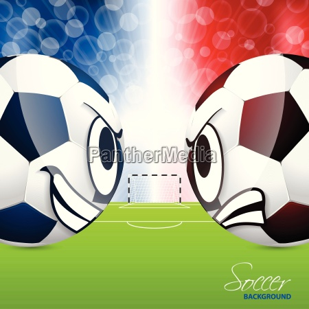 soccer balls with field in background
