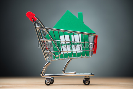 green paper house in shopping cart