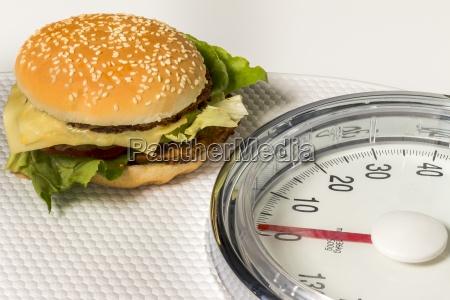 hamburger on bathroom scales