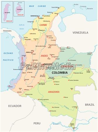 karte der natuerlichen regionenkolumbien